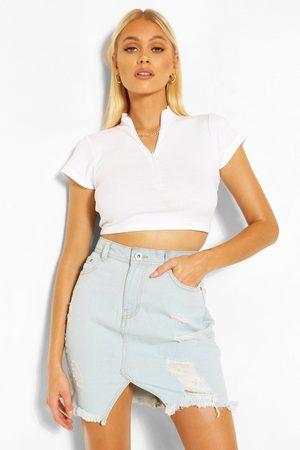 Boohoo Womens Extreme Ripped Denim Mini Skirt - - 6