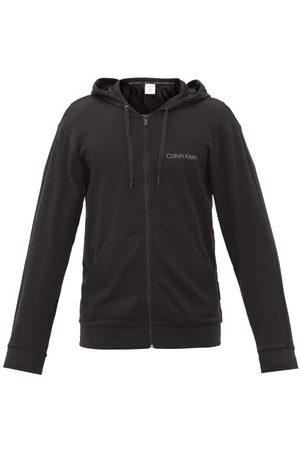Calvin Klein Logo-print Cotton-blend Jersey Hooded Sweatshirt - Mens