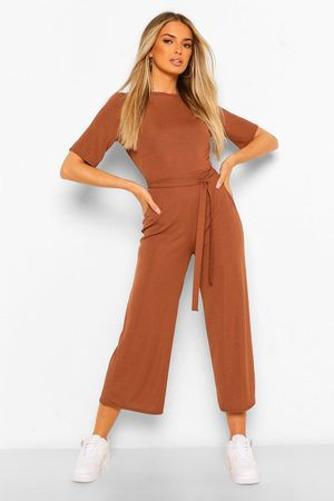 Boohoo Womens Ribbed T-Shirt Style Belted Wide Leg Jumpsuit - - 4