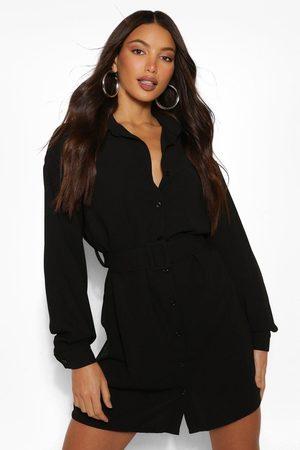 Boohoo Womens Tall Belted Button Down Woven Shirt Dress - - 2