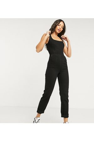 ASOS ASOS DESIGN Tall denim square neck fitted jumpsuit in washed