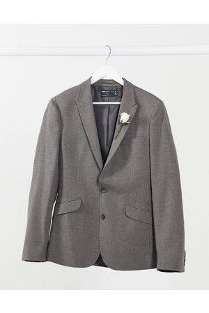 ASOS Wedding super skinny suit jacket in charcoal micro texture