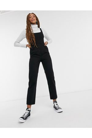 ASOS Denim square neck fitted jumpsuit in washed