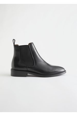 & OTHER STORIES Almond Toe Leather Chelsea Boots