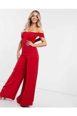 Yaura Jumpsuits - Wide leg off shoulder draped jumpsuit in red