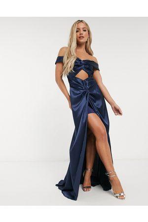 Yaura Off shoulder cut out satin maxi draped dress in navy