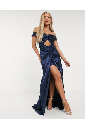 Yaura Women Casual Dresses - Off shoulder cut out satin maxi draped dress in navy