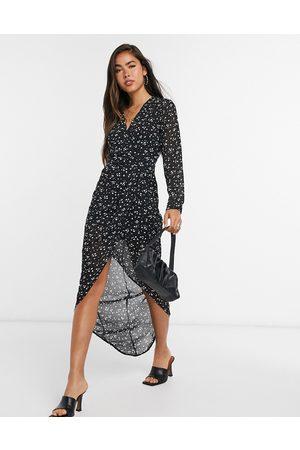 Girl in Mind Women Casual Dresses - Long sleeve wrap dress in print-Multi