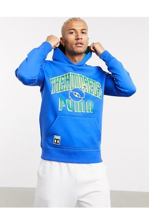 PUMA X The Hundreds large collegiate logo reversible hoodie in blue and green-Multi