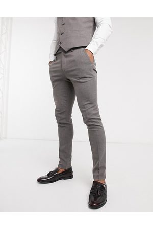ASOS Skinny Pants - Wedding super-skinny suit pants in charcoal micro texture