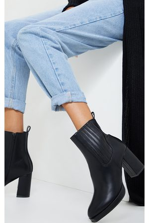 PRETTYLITTLETHING Slight Platform Chelsea Basic Heeled Ankle Boots