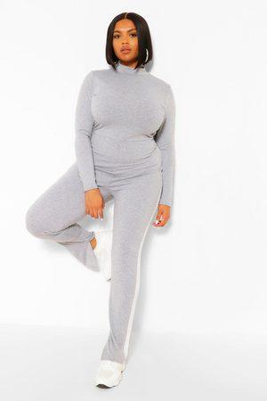 Boohoo Womens Plus Side Stripe Split Hem Jumpsuit - - 12