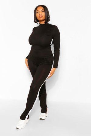 Boohoo Women Jumpsuits - Womens Plus Side Stripe Split Sem Jumpsuit - - 12