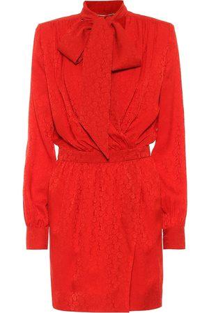 Saint Laurent Tie-neck jacquard silk minidress