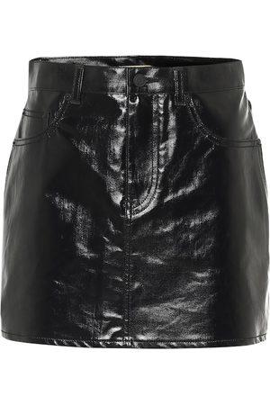 Saint Laurent Coated cotton miniskirt