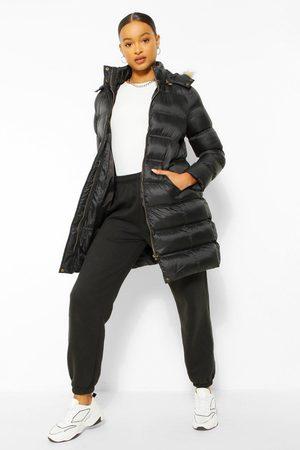 Boohoo Womens Longline Padded Faux Fur Hooded Jacket - - 4