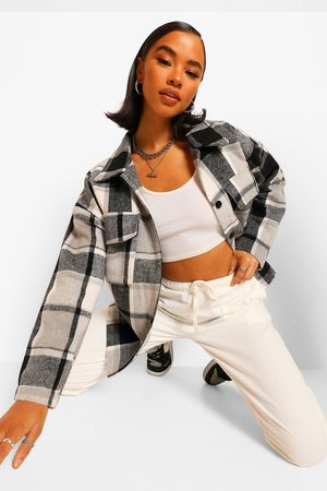 Boohoo Womens Mono Flannel Shacket - - 2
