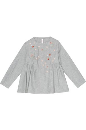 Il gufo Floral-embroidered cotton top