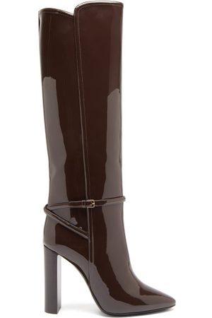 Saint Laurent Jane Patent-leather Knee-high Boots - Womens - Dark