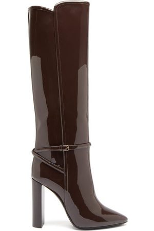 Saint Laurent Soixante Seize Patent-leather Knee-high Boots - Womens - Dark