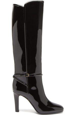 Saint Laurent Jane Knee-high Patent-leather Boots - Womens