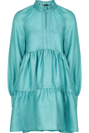 STINE GOYA Jasmine metallic aqua mini dress
