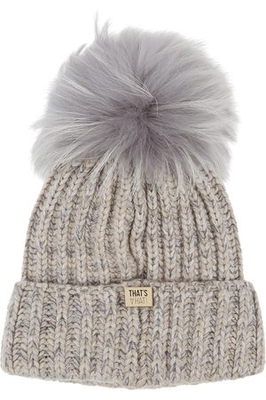 THAT'SAHAT Taupe fur pompom wool-blend beanie