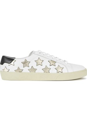 Saint Laurent Women Shoes - Court star-appliquéd leather sneakers