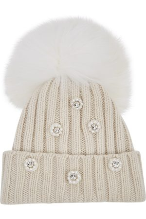 THAT'SAHAT Women Beanies - Cream embellished pompom wool-blend beanie