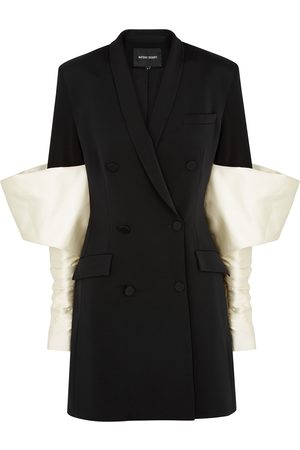 Nafsika Skourti Monochrome puff-sleeve twill blazer dress