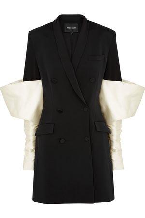 Nafsika Skourti Monochrome puff-sleeve twill blazer dress