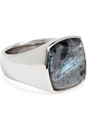 TOM WOOD Cushion Larvikite sterling ring
