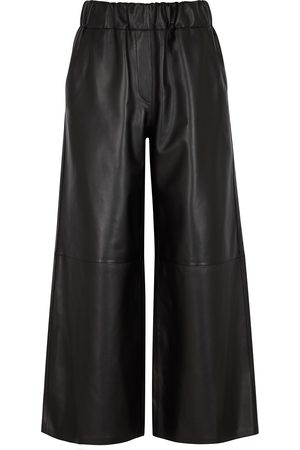 Loewe Cropped wide-leg leather trousers
