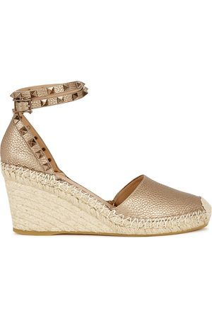 VALENTINO Garavani 85 bronze leather wedge espadrilles
