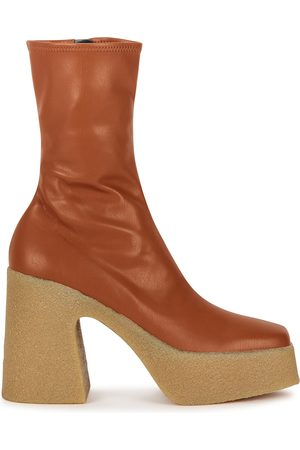 Stella McCartney 115 orange faux leather platform ankle boots