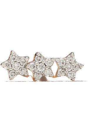 Milka 14kt rose three diamond stars piercing stud earring