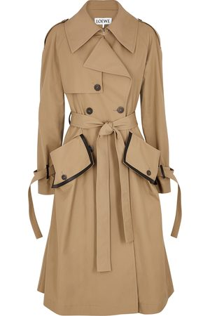 Loewe Women Trench Coats - Camel cotton-twill trench coat