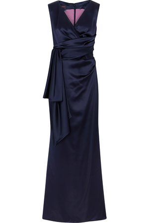 TALBOT RUNHOF Bosworth navy wrap-effect satin gown