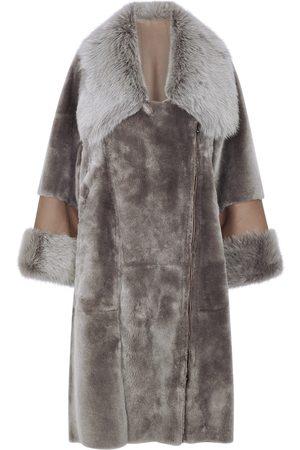 DOM GOOR Grey reversible sheepskin coat