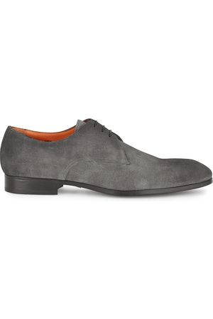 santoni Simon grey suede Derby shoes