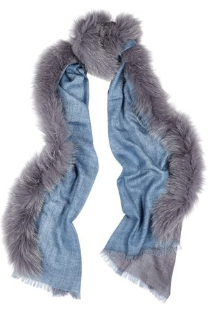 AMA Pure Fur-trimmed wool scarf