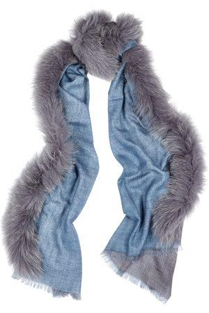 AMA Pure Fur-trimmed wool scarf