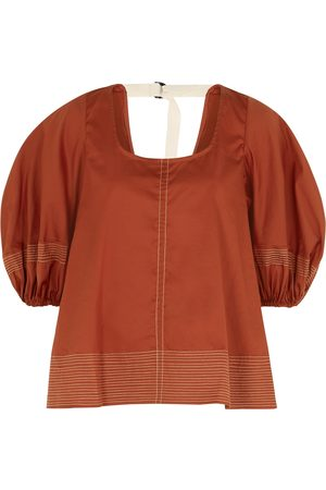 Lee Mathews Sara terracotta cotton-blend top