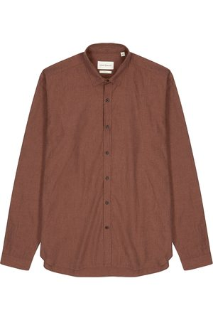 OLIVER SPENCER Men Shirts - Clerkenwell burnt orange cotton shirt