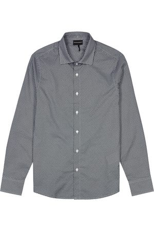 Emporio Armani Navy monogrammed cotton shirt