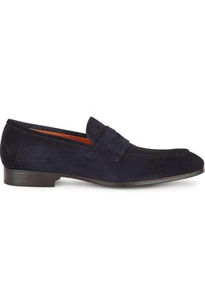 santoni Simon navy suede loafers