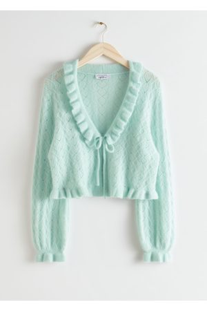 & OTHER STORIES Ruffled Alpaca Blend Knit Cardigan - Turquoise