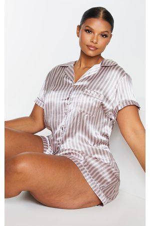 PRETTYLITTLETHING Women Pajamas - Plus Striped Satin PJ Set