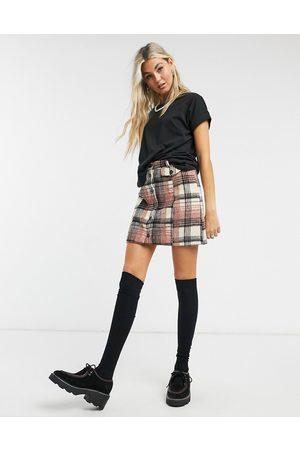 Emory Park Button-front mini skirt in brushed check co-ord-Multi