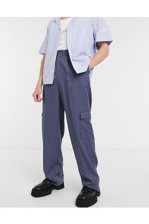 ASOS Cargo Pants - Wide leg smart pants in navy pinstripe and cargo pockets